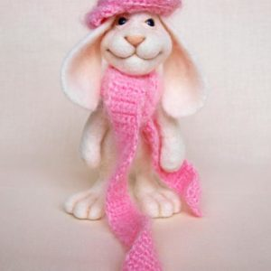 White Bunny In Pink Hat