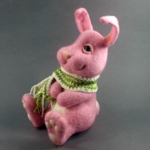Pink Bunny With Green Scarf
