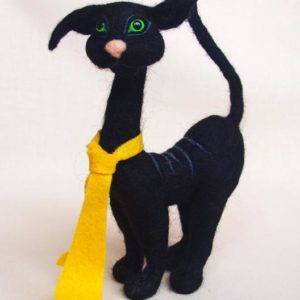 needle-felted-black-cat-with-yellow-tie