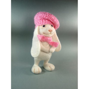 needle-felted-white-bunny-in-a pink-scarf