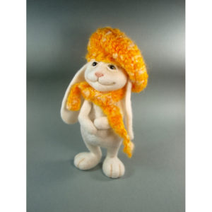 needle-felted-white-bunny-in-yellow-hat